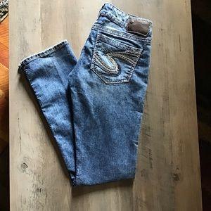 Silver Berkeley Straight Leg Jeans Size 27